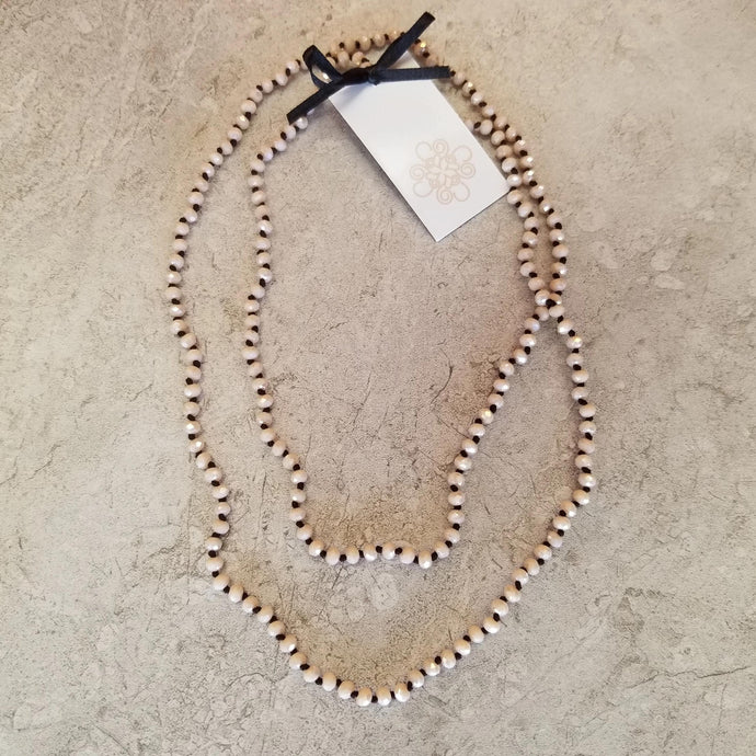 Cream-Tiny Crystal Knotted Necklace
