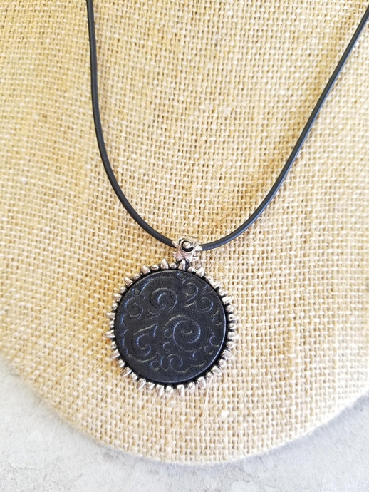 Black Swirl Pendant Necklace