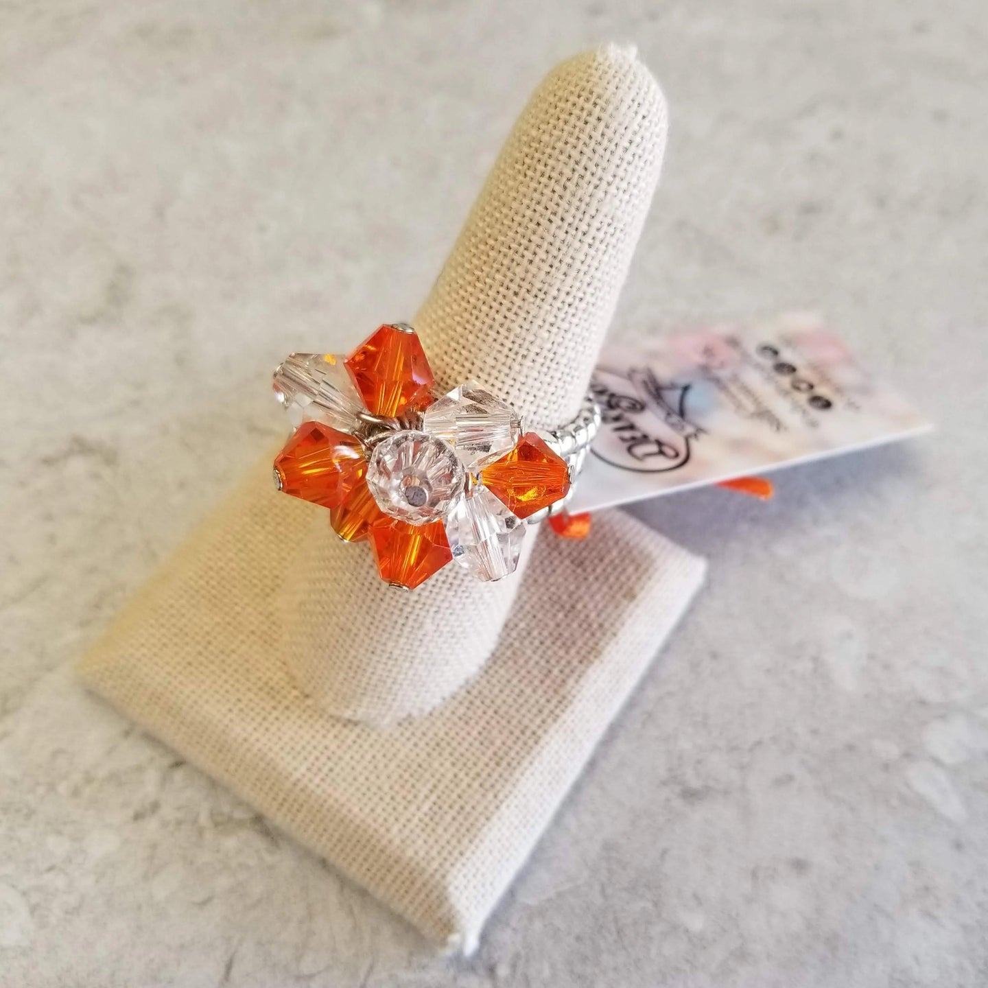 Orange & Clear Crystal Ring