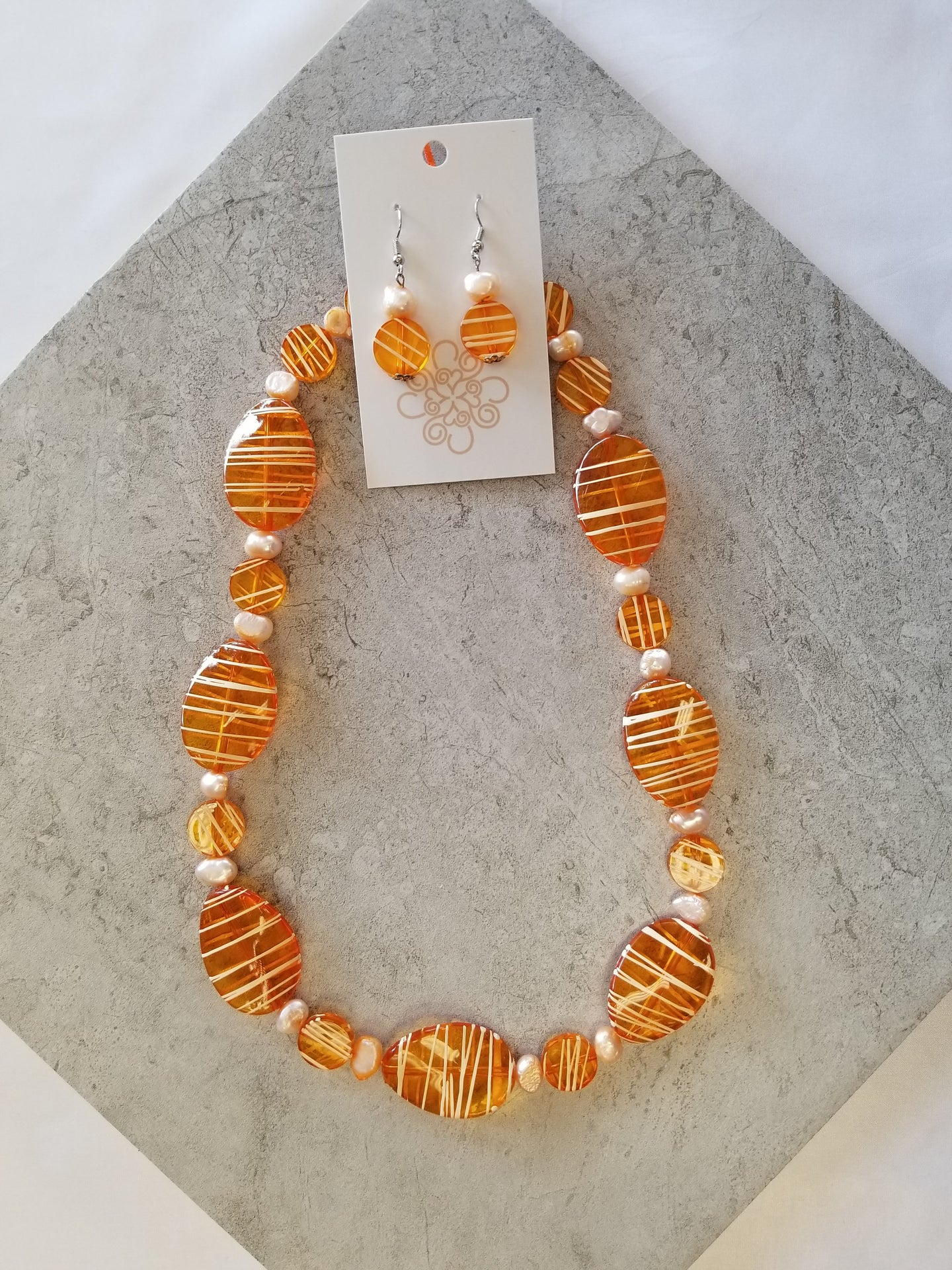 Striped Orange & Pearl Set 2