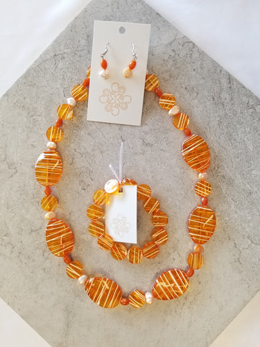 Striped Orange & Pearl Set 3