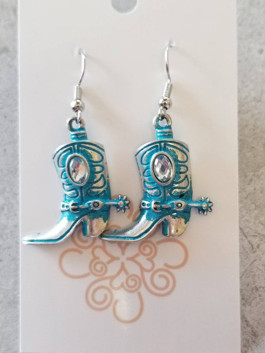 Turquoise Silver Boot Earrings