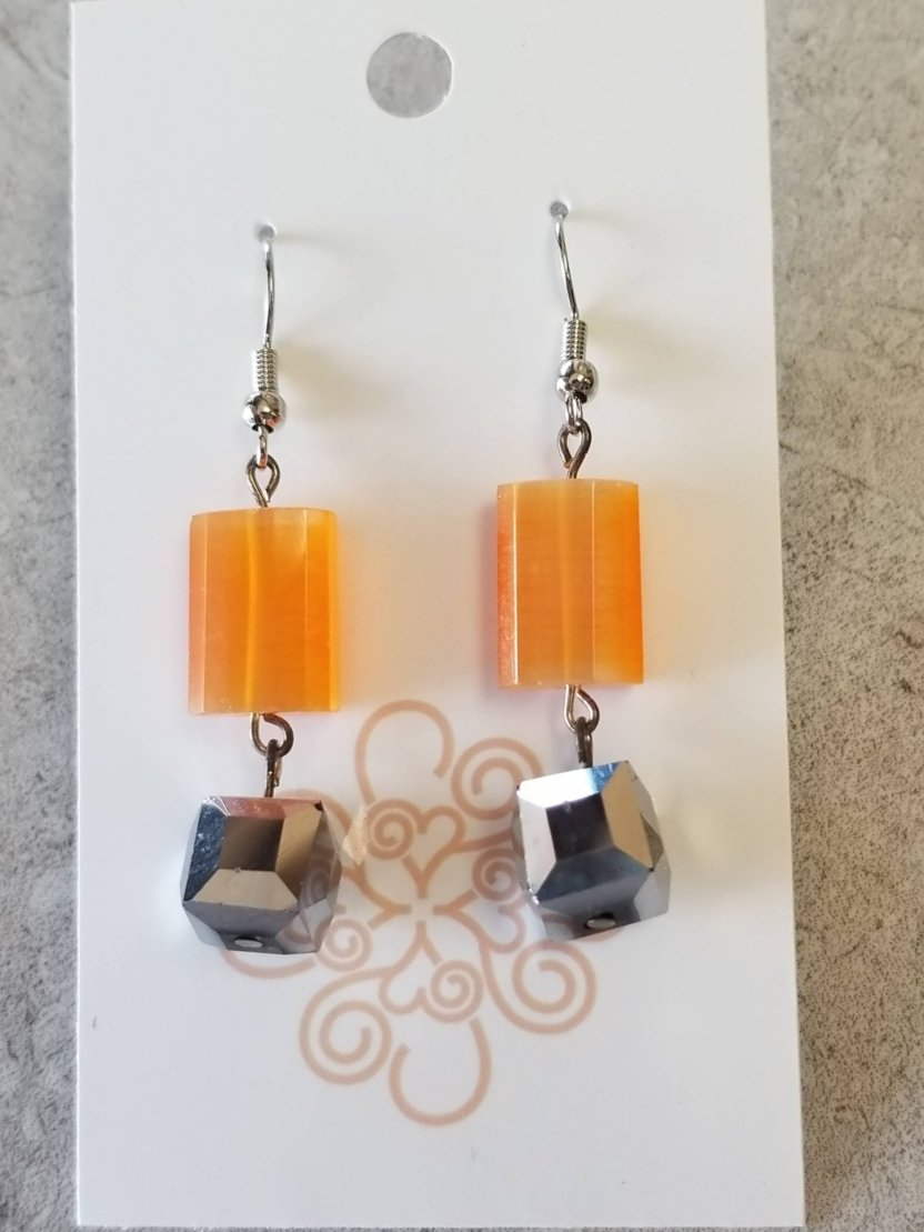 Translucent Orange and Silver Earrings