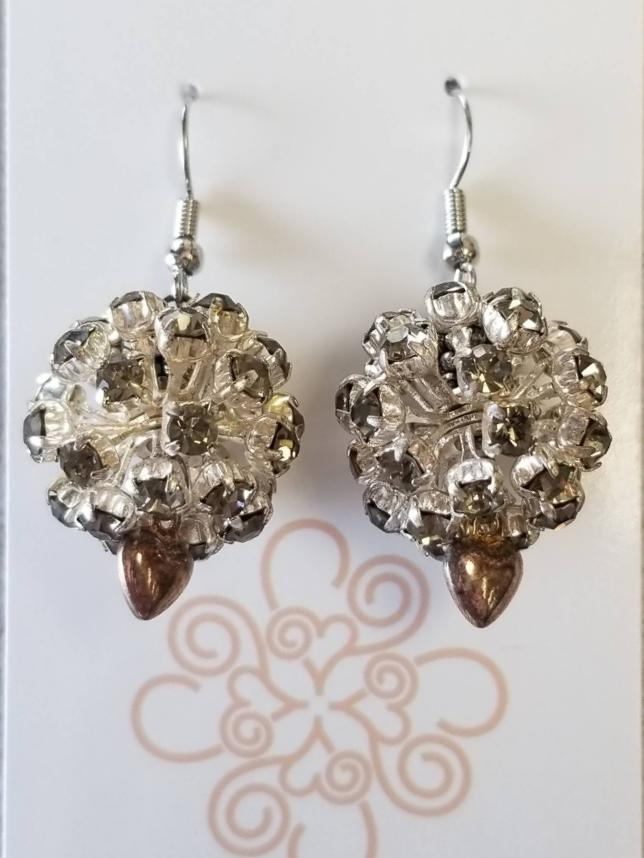 Silver Sparkly Ball Earrings