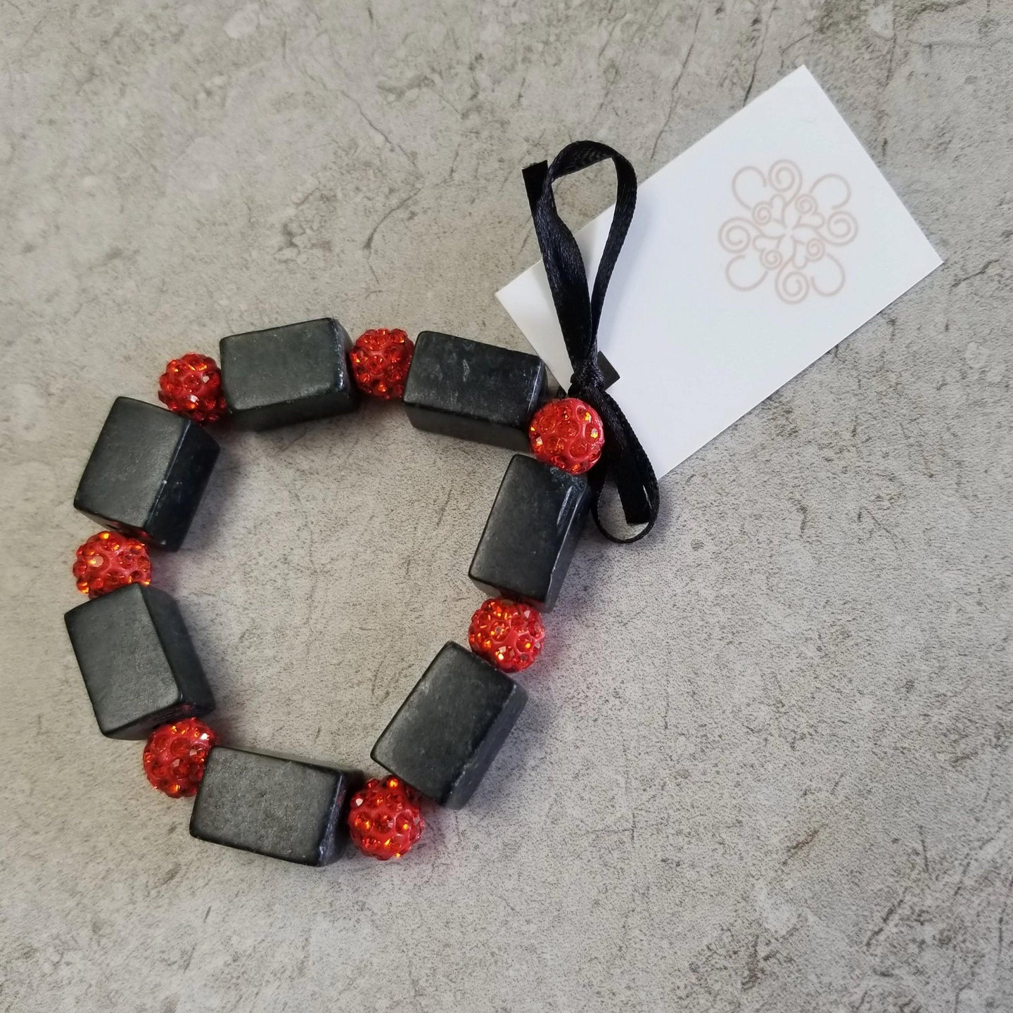 Black Stone & Orange Sparkle Bracelet