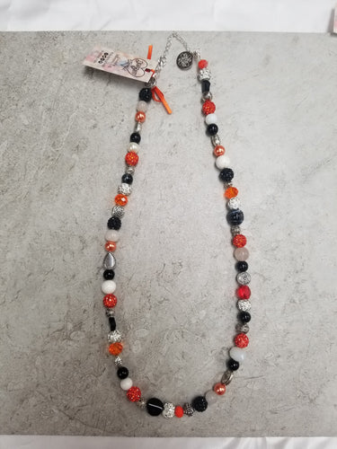 Orange, Black & Silver Short Multi Bead Necklace