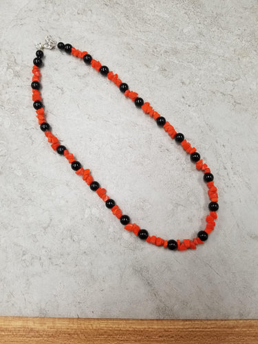 Orange Chip & Black Necklace