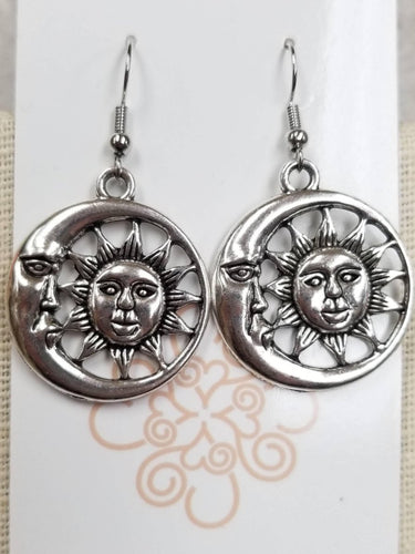 Silver Sun & Moon Earrings