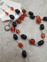 Orange and Black Glass Bead Set