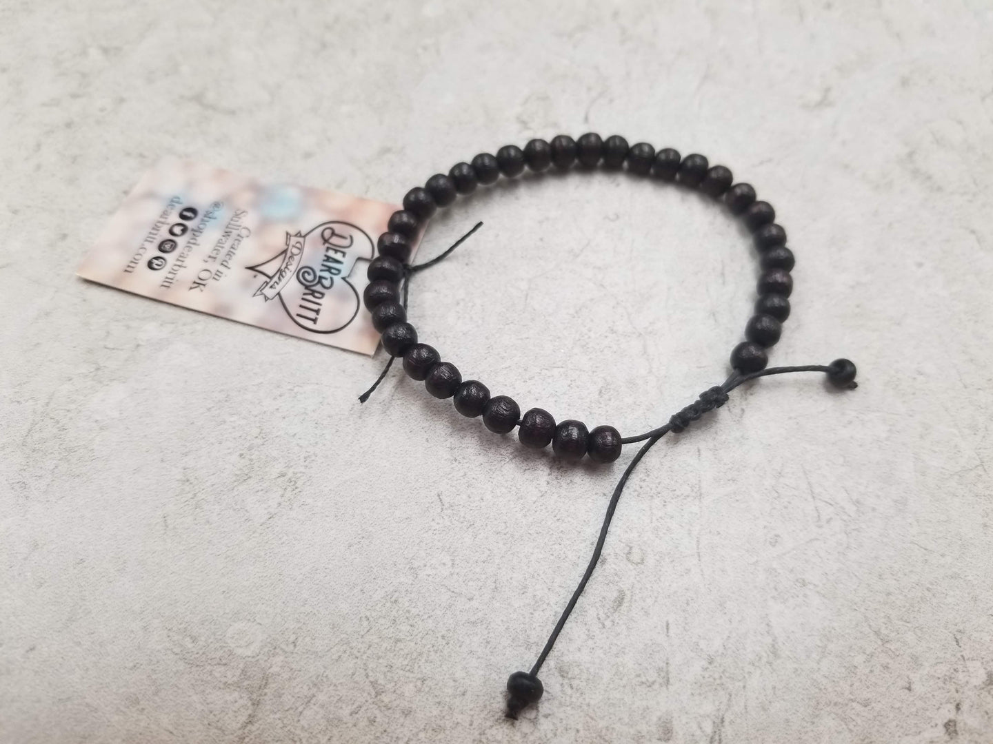 Black Wooden Beaded String Bracelet