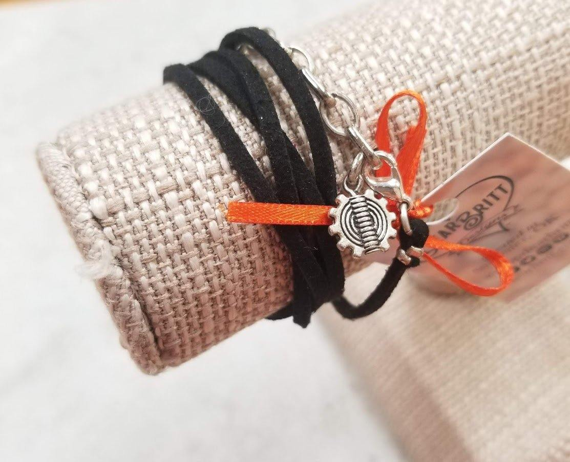 Black Leather Wrap Bracelet - Gear