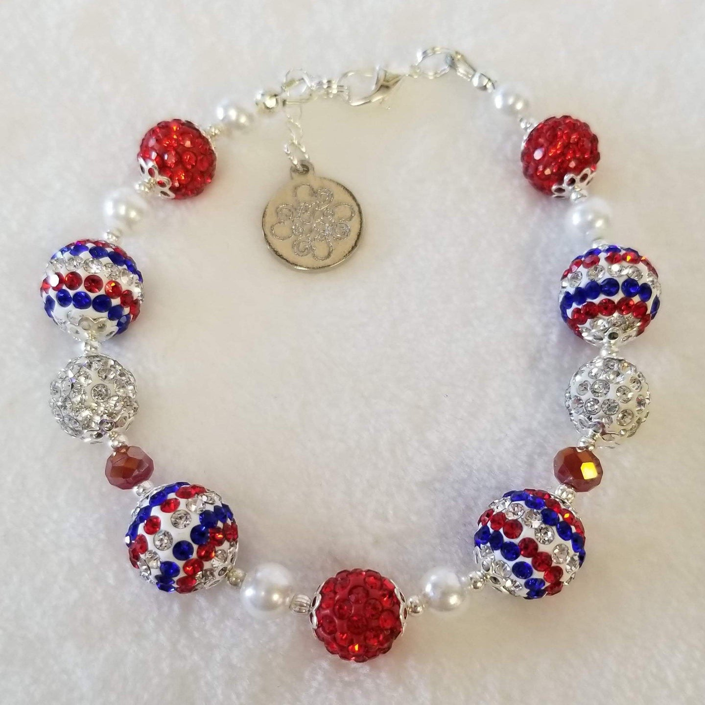 Red White & Blue Sparkle Pearl Bracelet - DearBritt