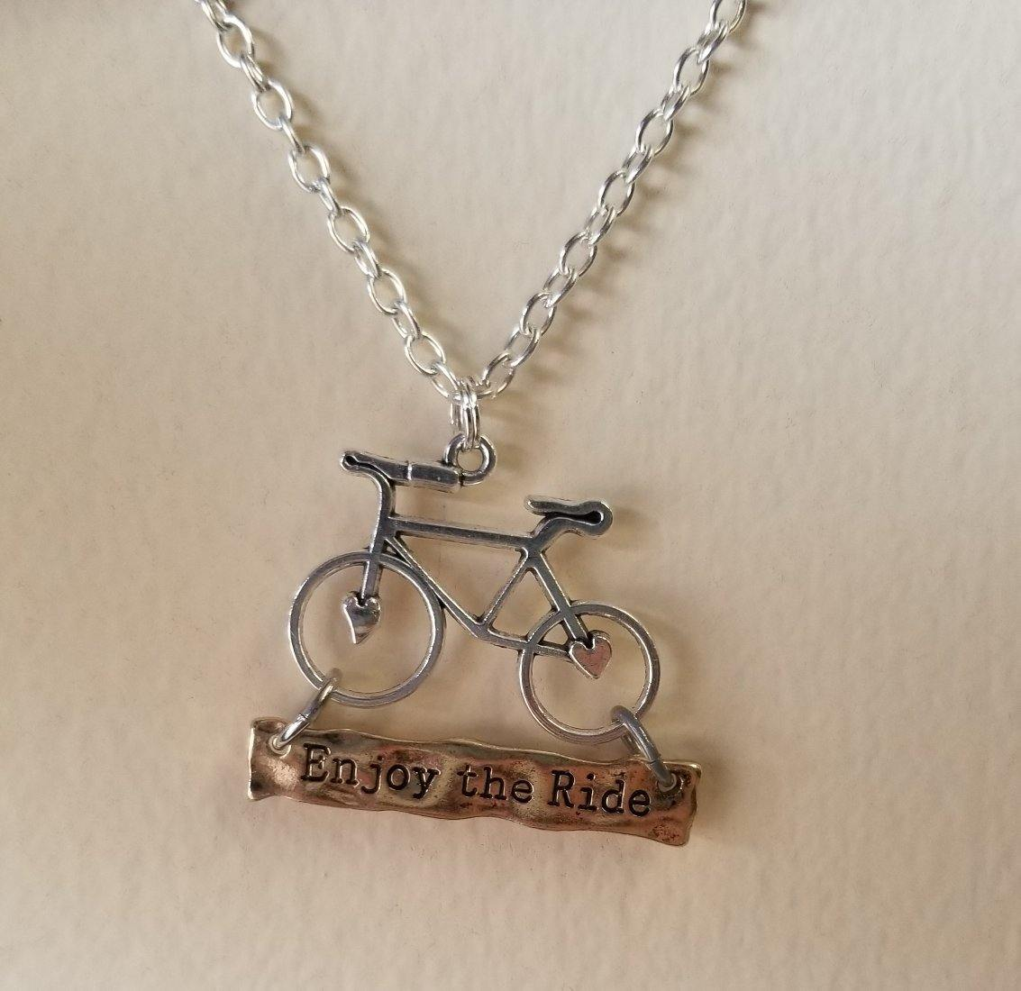 Enjoy The Ride Bicycle Pendant Necklace
