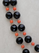 Black & Orange Crystal Round Bead Set - Matching Necklace, Bracelet & Earrings