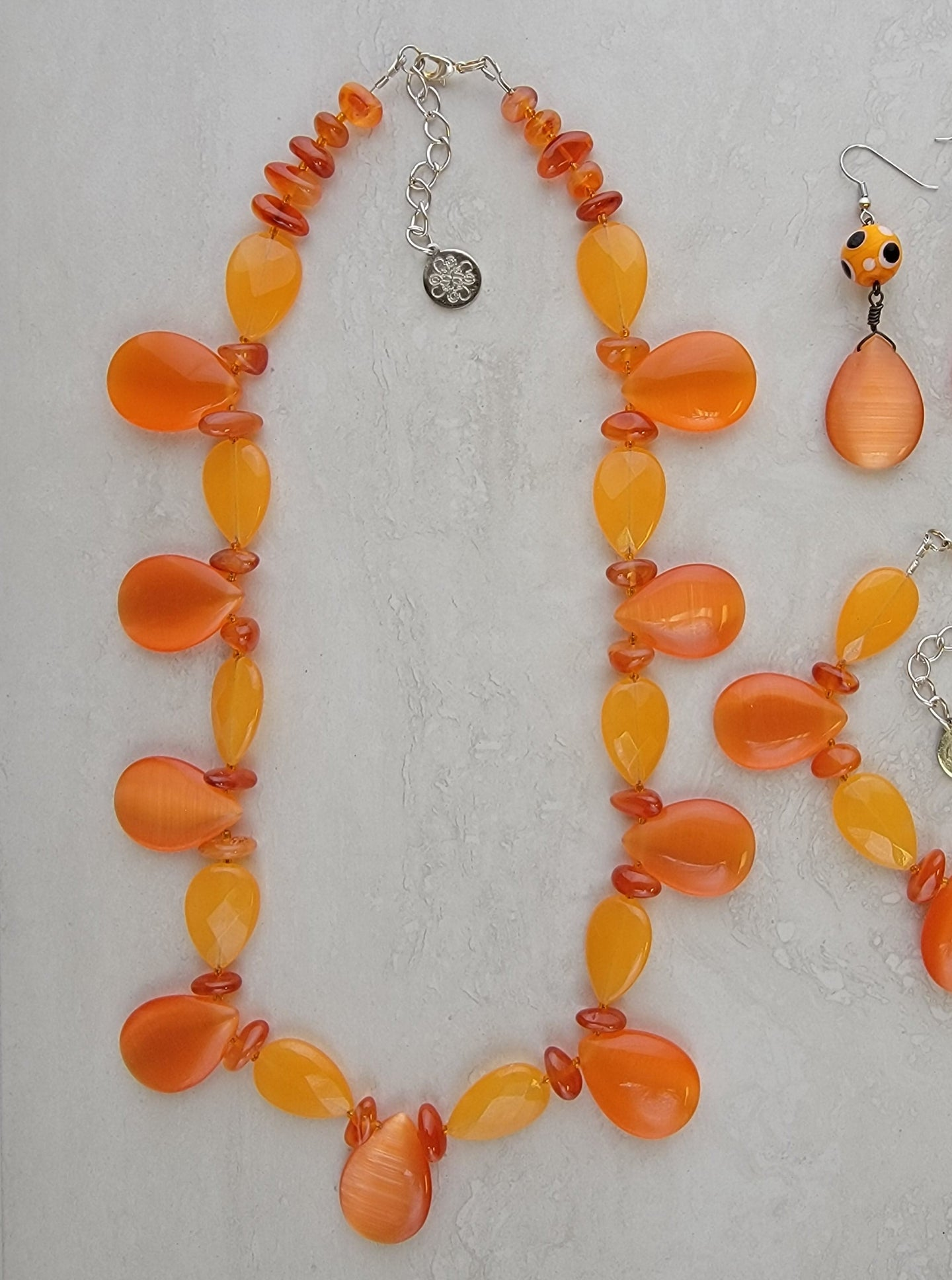 Orange Glass Tear Drop Set - Matching Necklace, Bracelet & Earrings