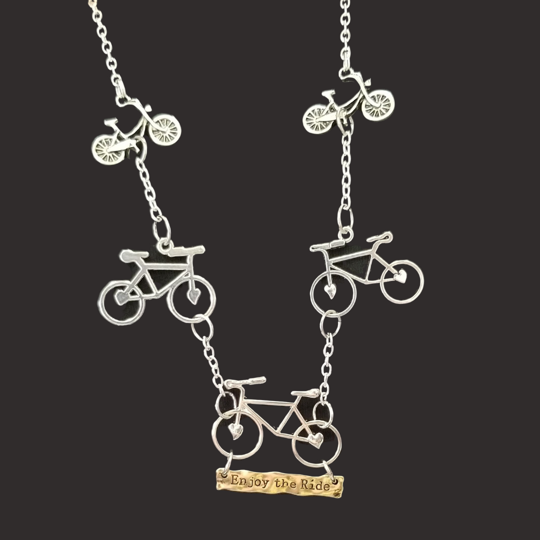 Enjoy The Ride Bicycle Charm Necklace