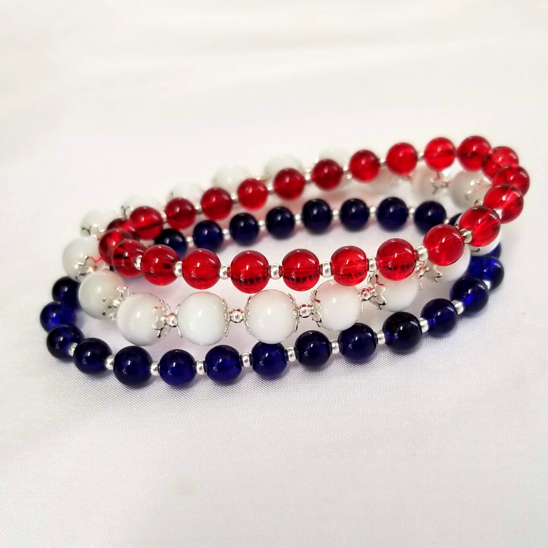 Red White & Blue Glass Bead Bracelet Set