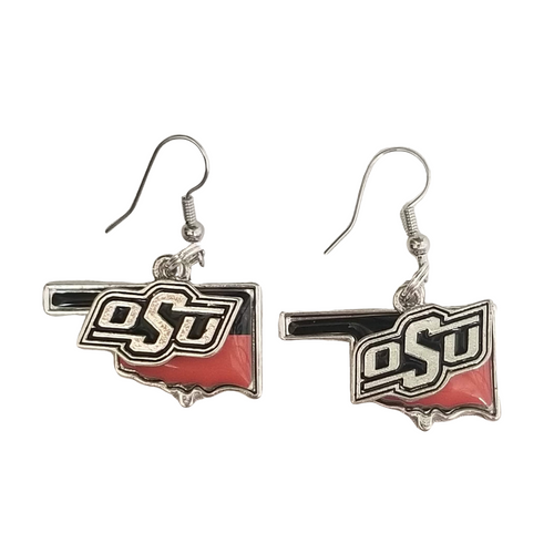 Orange & Black OK State Earrings