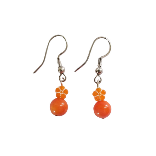 Orange Flower Earrings
