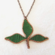 Copper Beaded Leaf Necklace