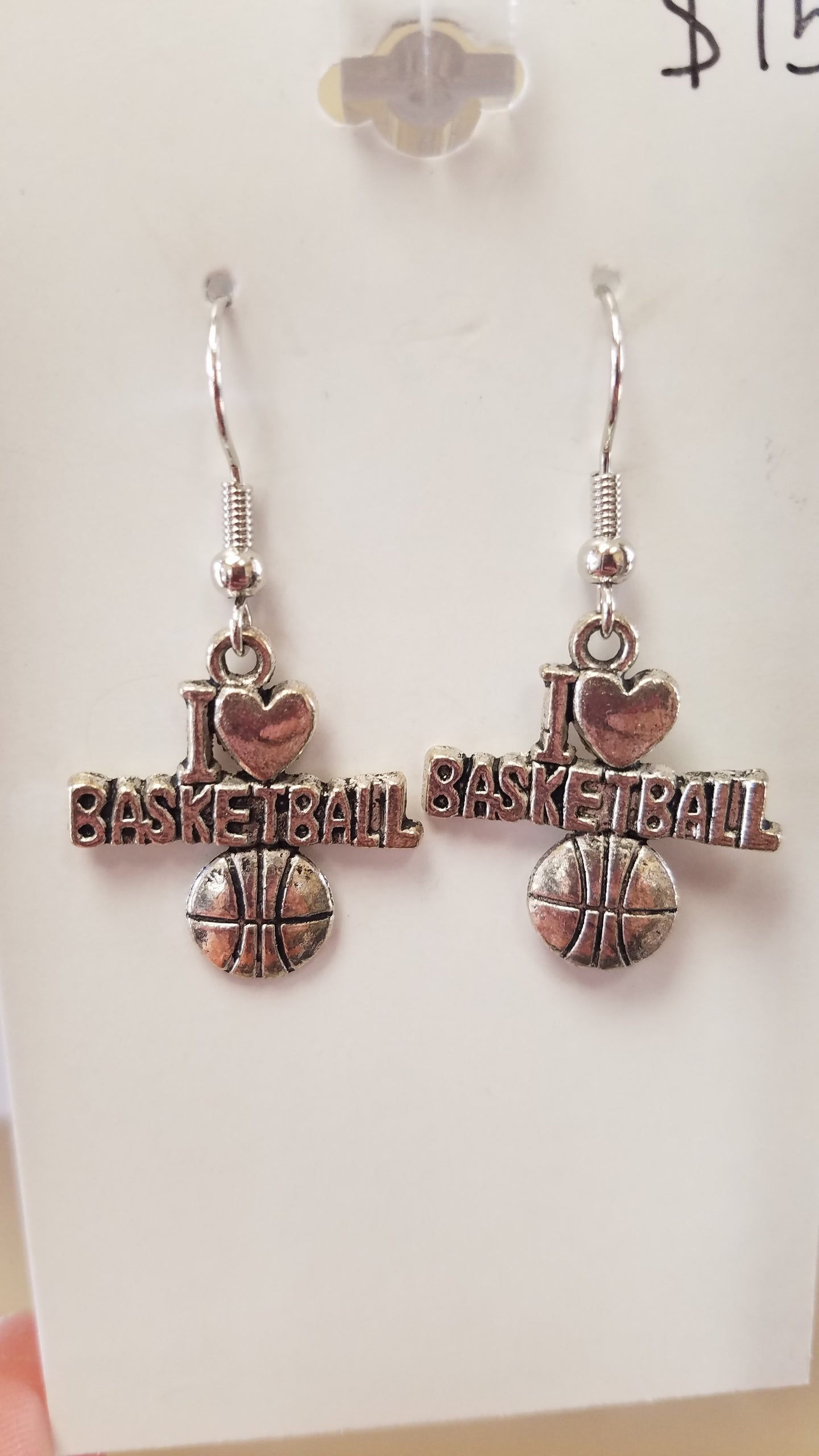 Silver I 🖤 Basketball Earrings
