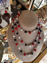 Black & Red Sparkle Bead Knotted Necklace