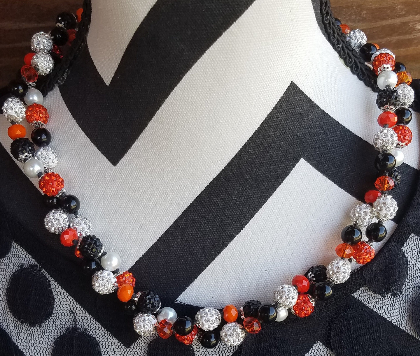 Sparkly Orange and Black Pearl Necklace