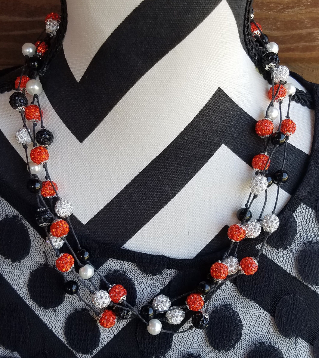 Orange + Black Floating Bead Necklace