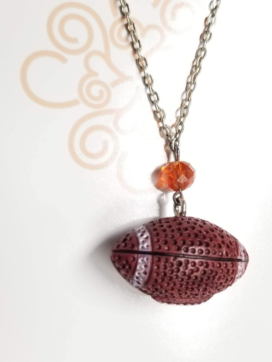 Orange Crystal Football Necklace
