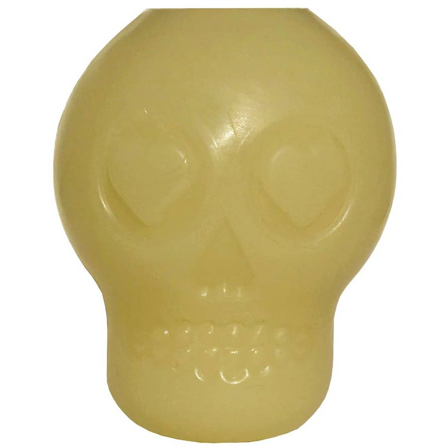SodaPup Skull Rubber Treat Dog Toy - Glow in the dark