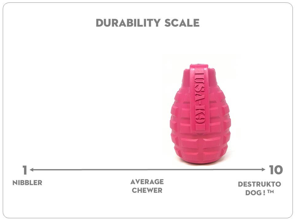 SodaPup Grenade Rubber Treat Dog Toy - Pink Puppy