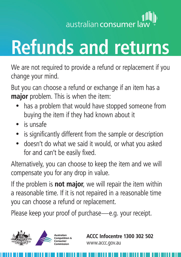 Refunds and Returns policy