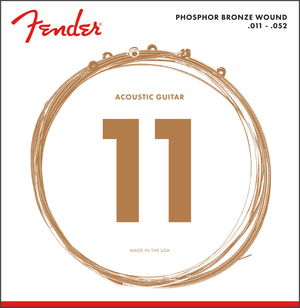 Fender 60CL Phosphor Bronze, Acoustic Guitar Strings, Custom Light, 11-52