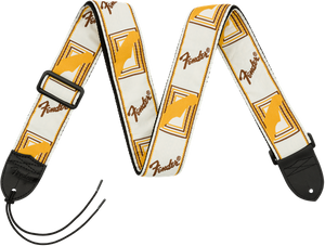 "Fender 2"" Monogrammed Strap - White/Brown/White"