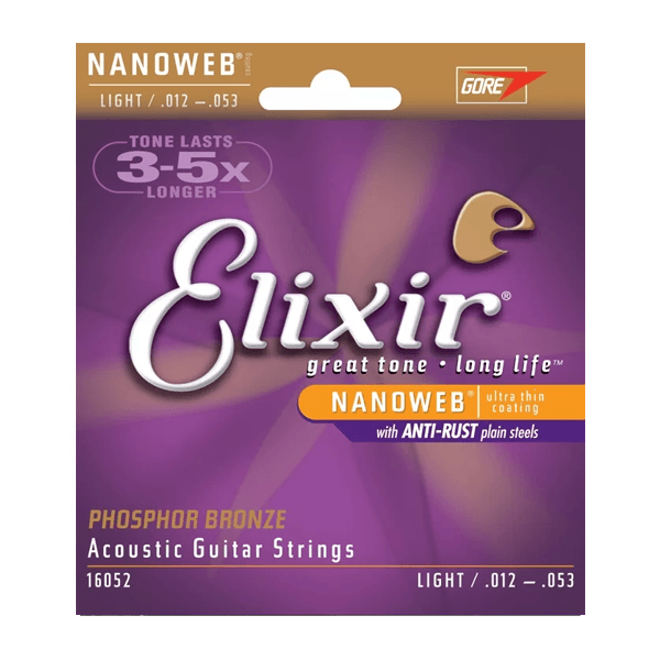 Elixir 16052 Acoustic Phosphor Bronze with Nanoweb Coating, Light, 12-53