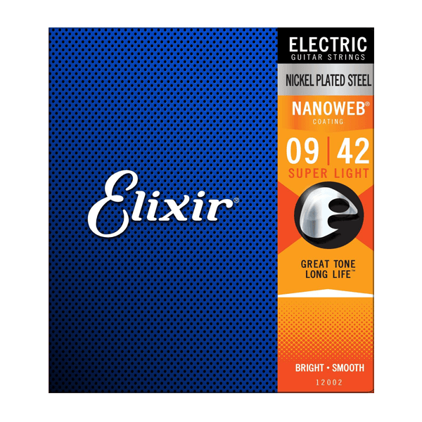 Elixir 12002 Electric Nickel Plated Steel with Nanoweb Coating, Super Light, 9-42