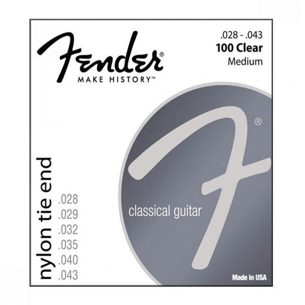 Fender 100 Clear Nylon Tie End, Classical Guitar Strings, Medium, 28-43