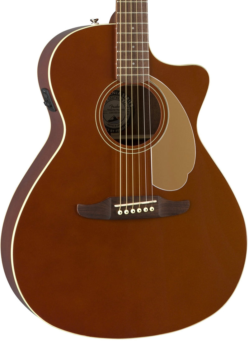 Fender Newporter Player Acoustic/Electric - Rustic Copper, body photo