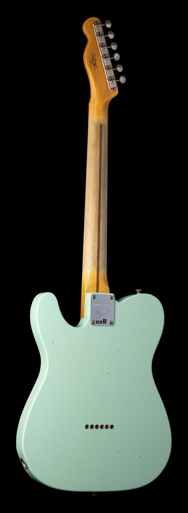 Rear photo of Fender Custom Shop Limited Edition '50s Thinline Telecaster - Super Faded Surf Green, Journeyman Relic