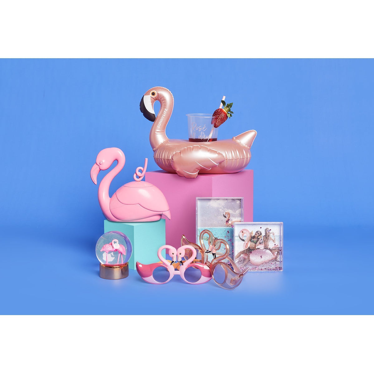 Sunnylife | Inflatable Drink Holder | Flamingo Rose Gold