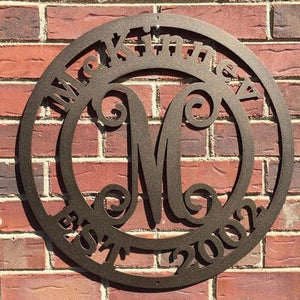 Monogram Established Last Name Sign