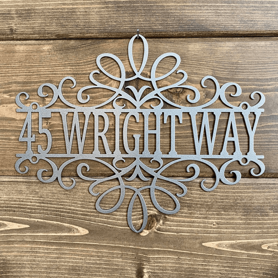 Filigree Address Metal Sign