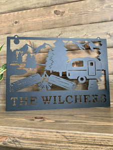 Camper/RV & Campfire Sign -- Custom Metal Sign