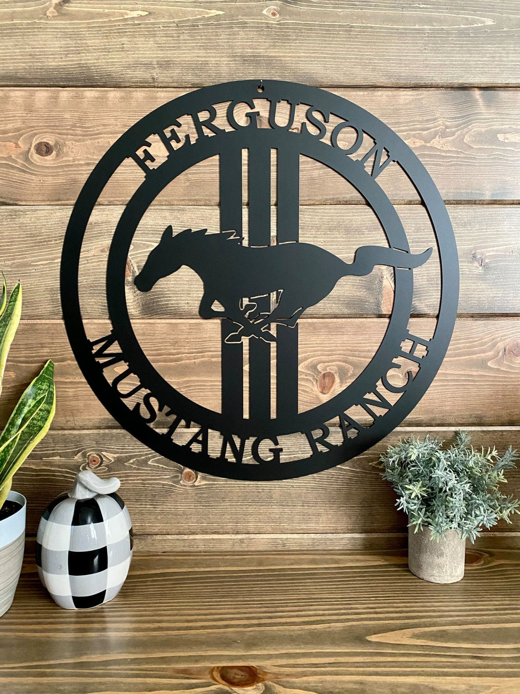 Personalized Mustang Horse Ranch Sign -- Race Horse Custom Metal Sign