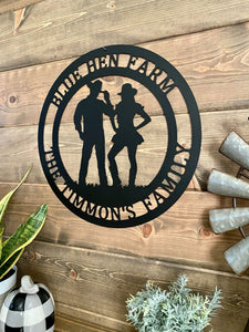 Personalized Cowboy and Cowgirl Sign