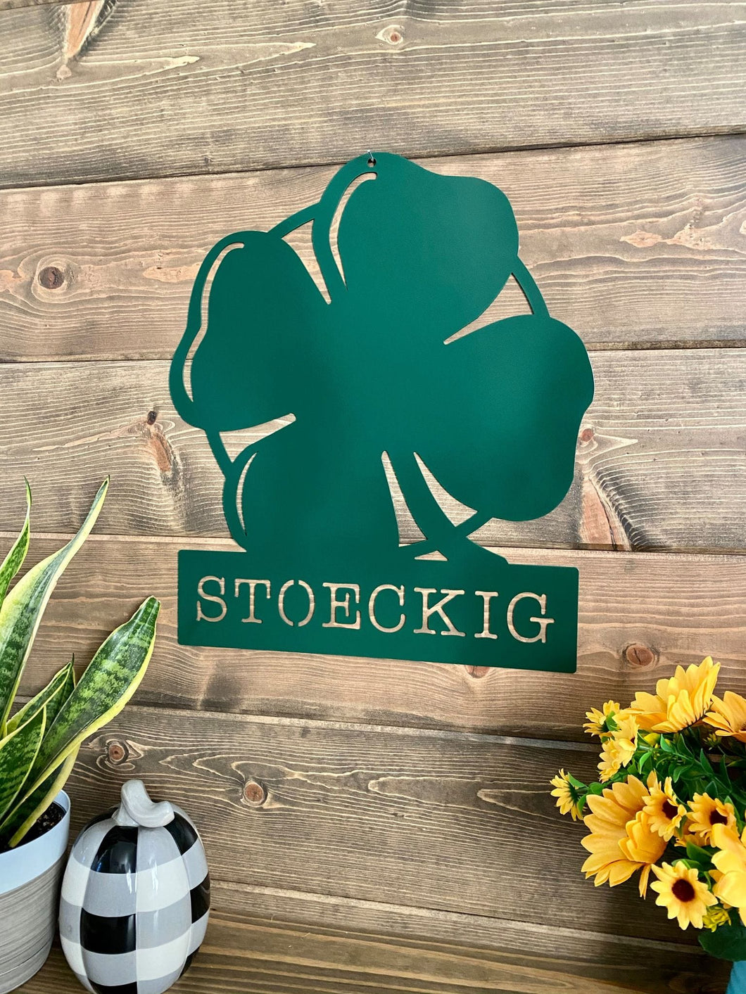 Personalized 4-Leaf Clover Name Sign -- Irish Clover Sign