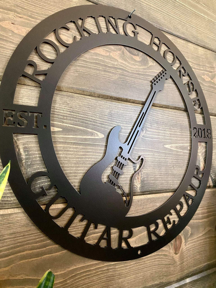 Personalized Electric Guitar Established Last Name Family Sign
