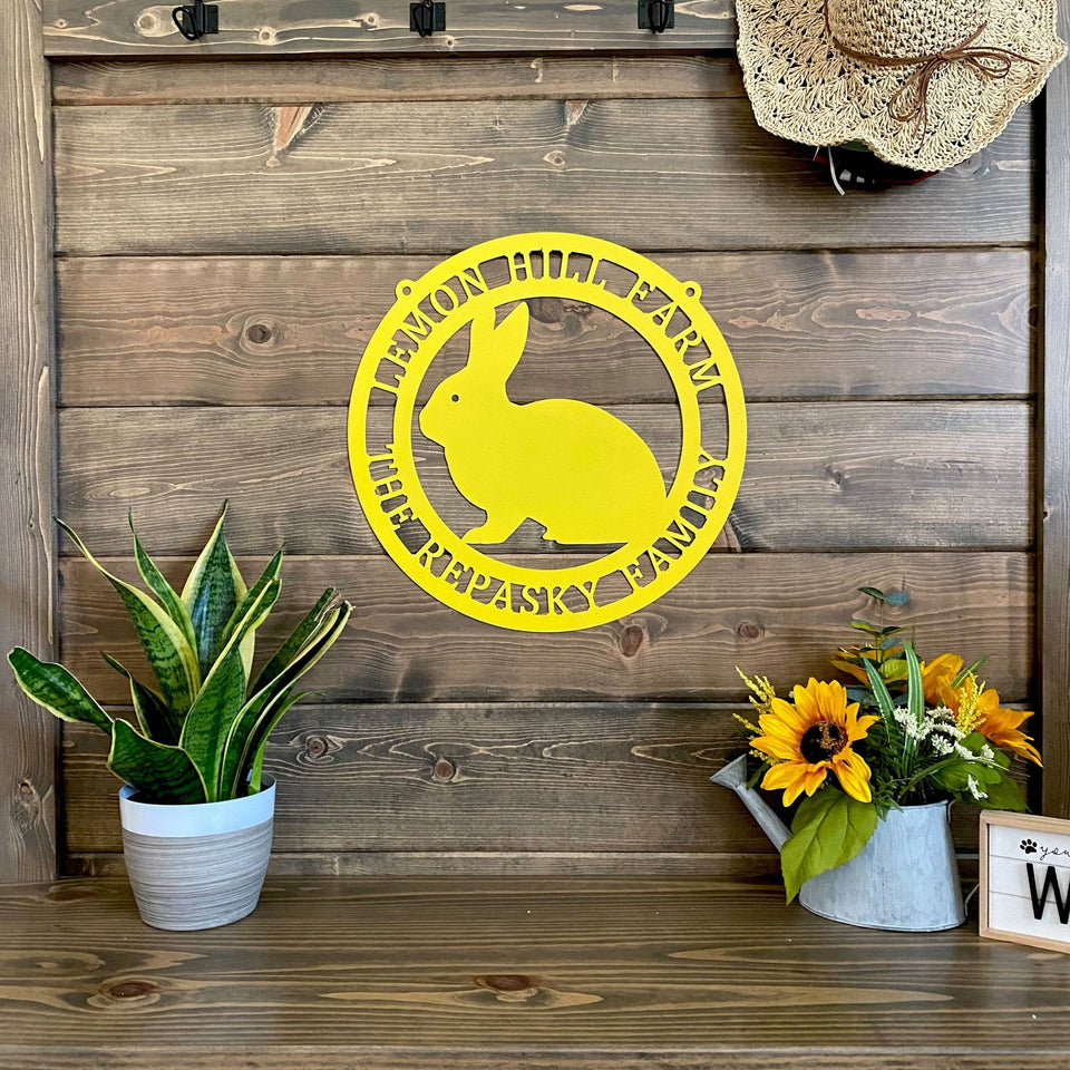Personalized Spring Rabbit Metal Sign