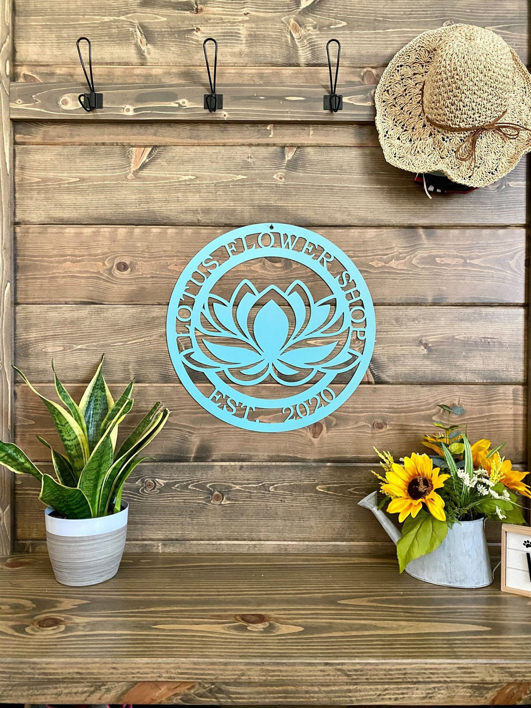 Personalized Lotus Flower Metal Sign