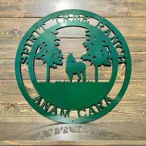 Horse Tree Sign, Custom Horse Decor